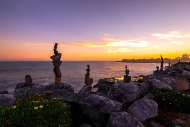 Rock Art and Sunset stock photo