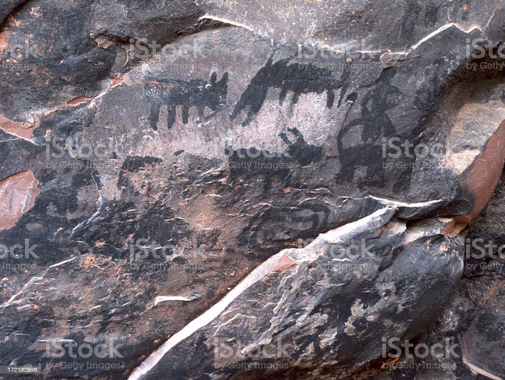 rock art charcoal stock photo
