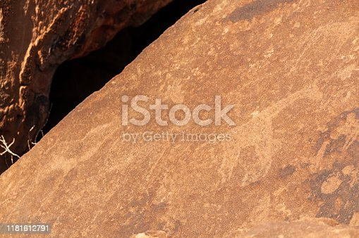Detail of the prehistoric rock paintings of the San People in Western Namibia, near Twyfelfontein.