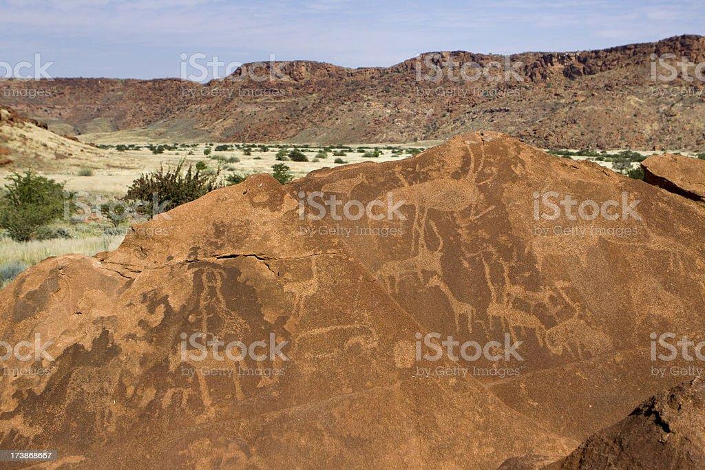 Rock art of Twyfelfontein, Namibia stock photo