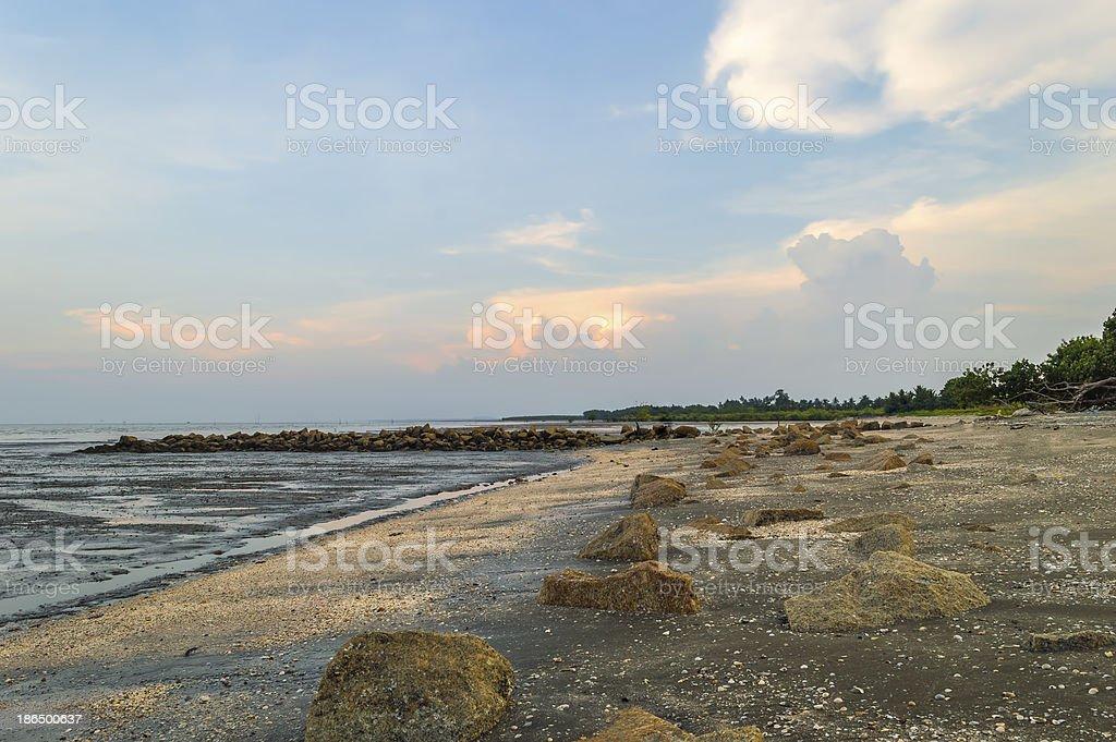 Rock at sea shore royalty-free stock photo
