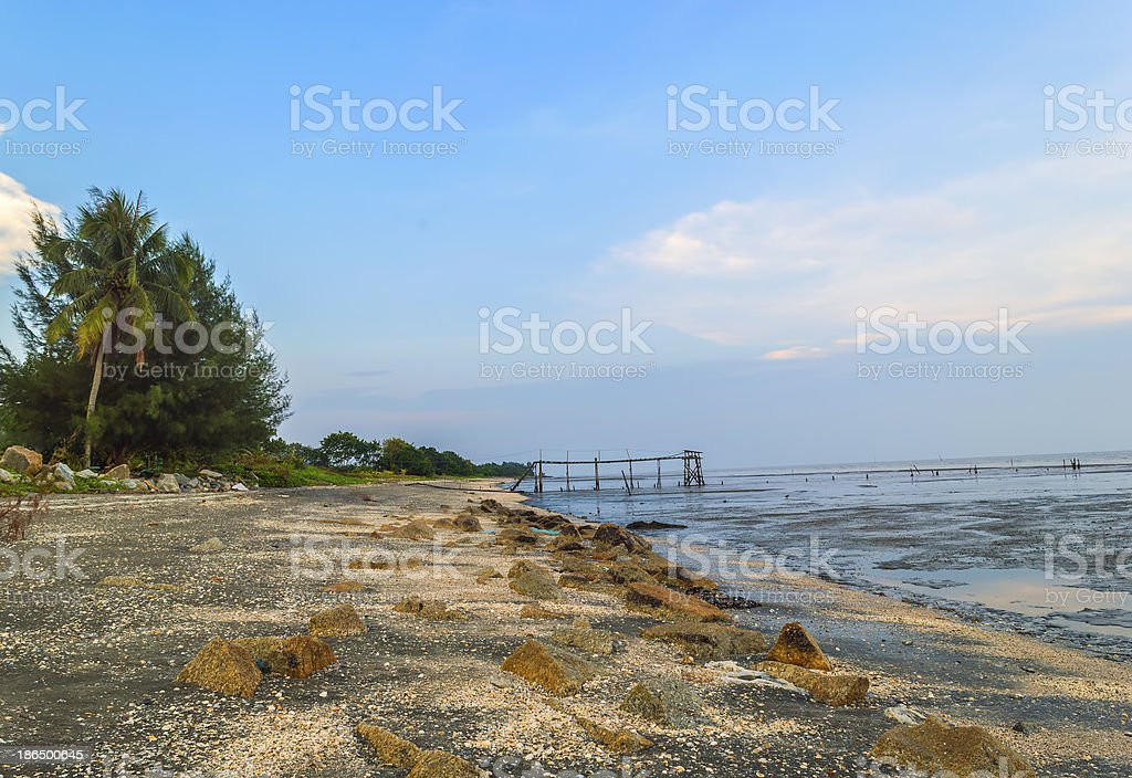 Rock at sea shore royalty-free stock photo