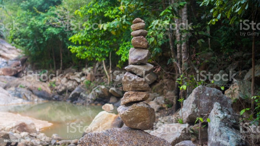 rock balance. sports outdoors. Mountain landscape royalty-free stock photo