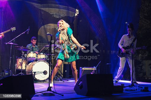 849362390 istock photo Rock band playing on the concert 1033980398
