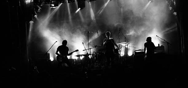 silhouette de groupe de rock - batterie musique photos et images de collection