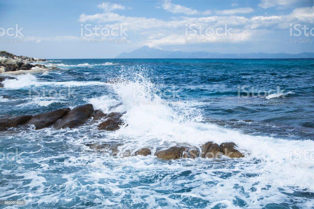 Rock beach , summer nature landscape royalty-free stock photo