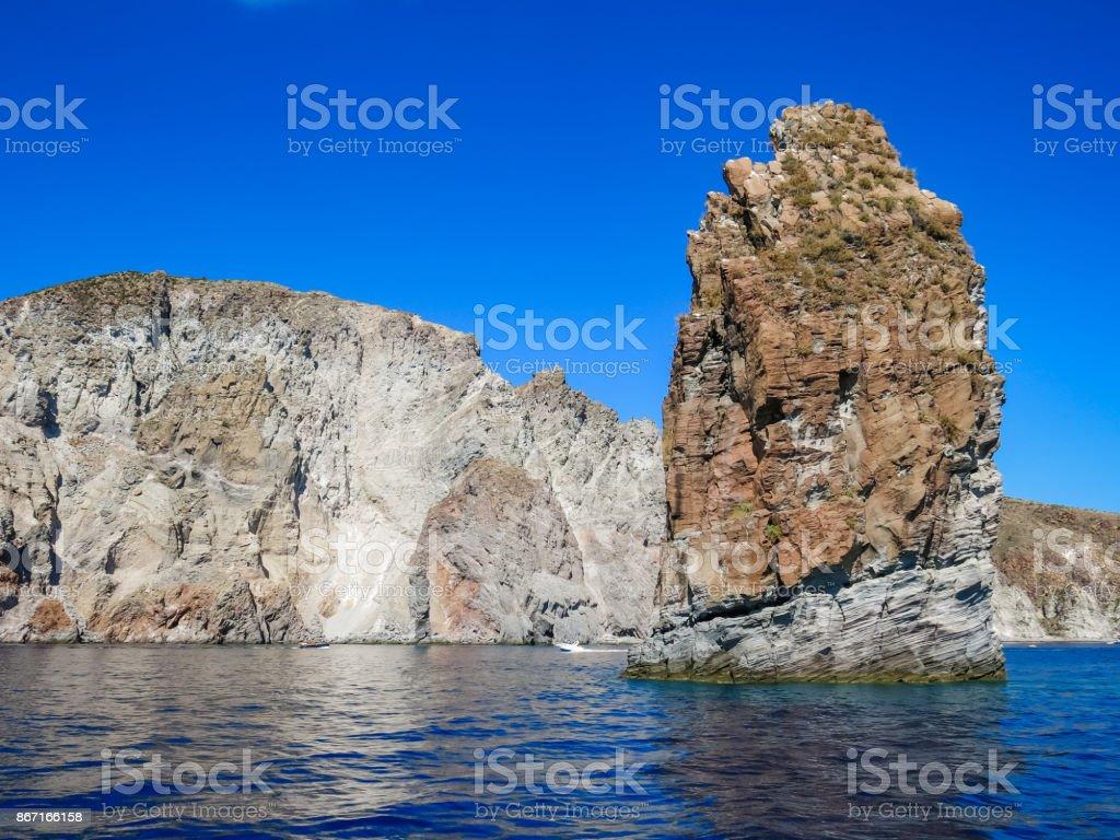 Rock between Volcano adn Lipari, Aolian islands stock photo