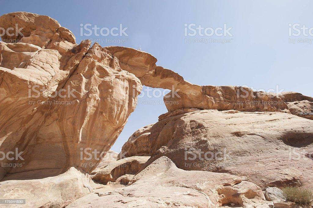 Rock bridge at Wadi Rum, Jordan stock photo