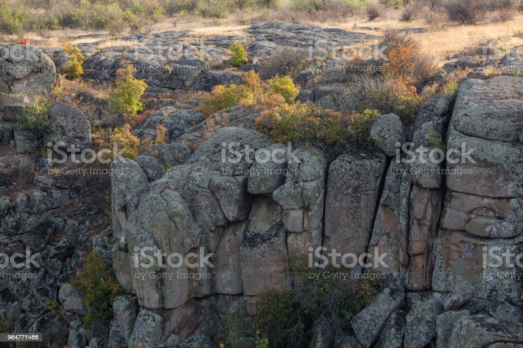 Rock canyon against beautiful sunset background royalty-free stock photo