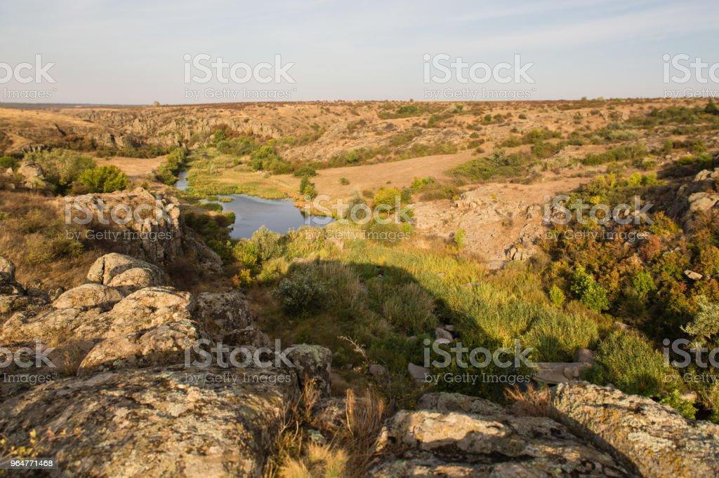 Rock canyon against beautiful sunset background royalty-free stock photo
