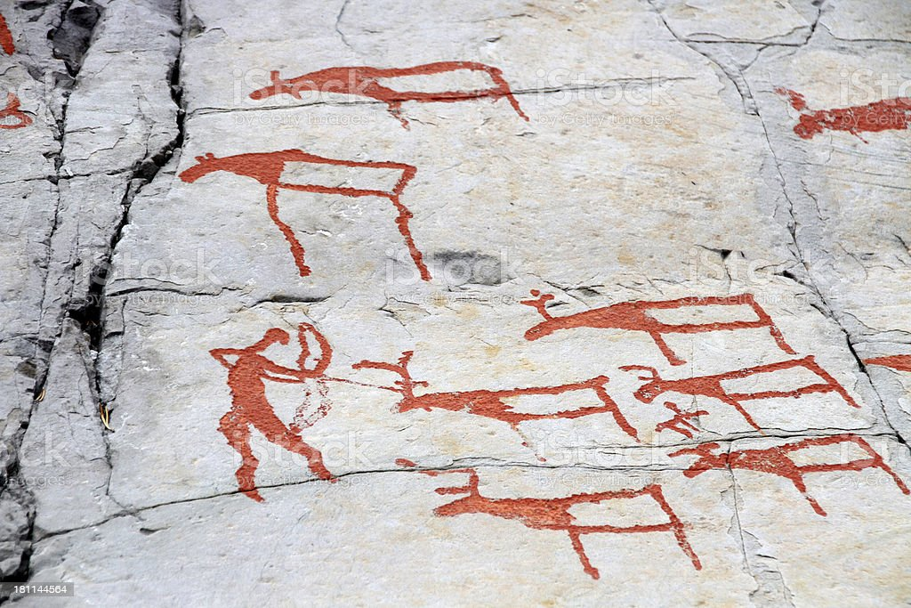 rock carvings Alta stock photo