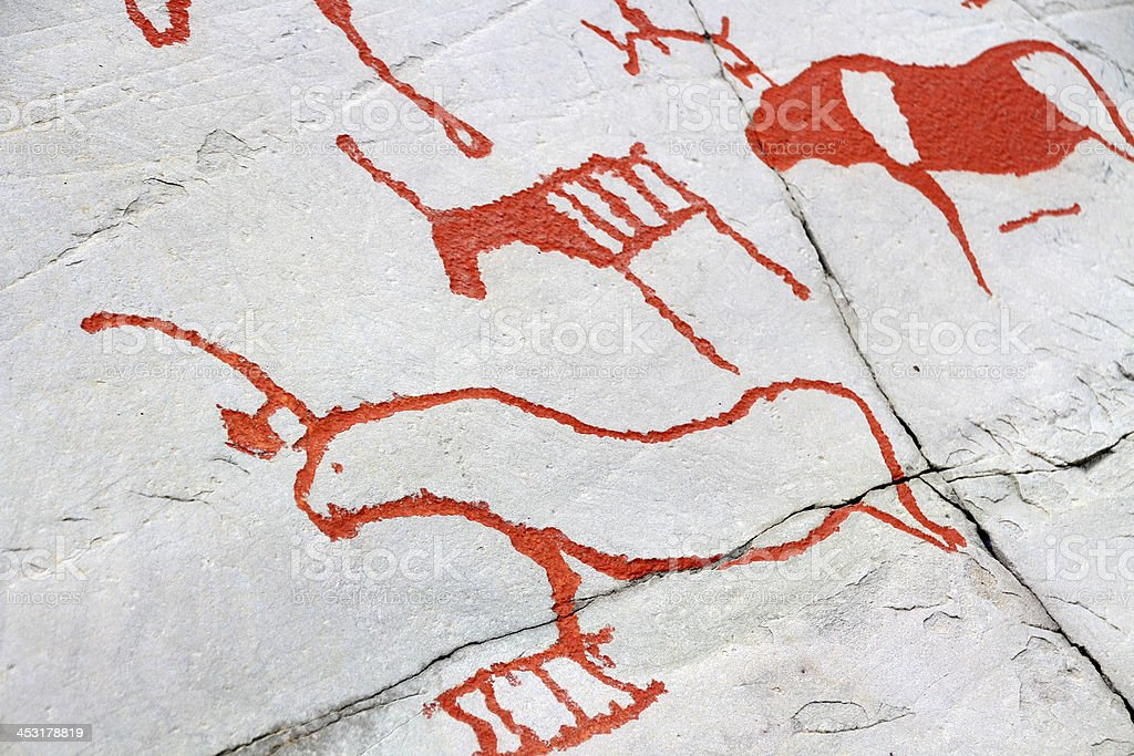 rock carvings Alta royalty-free stock photo