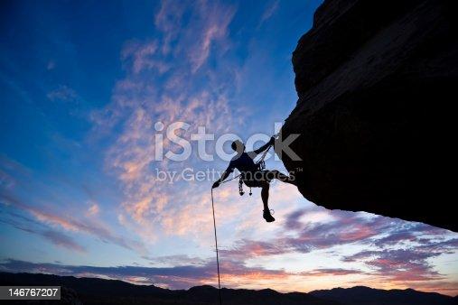 istock Rock climber against an evening sky 146767207