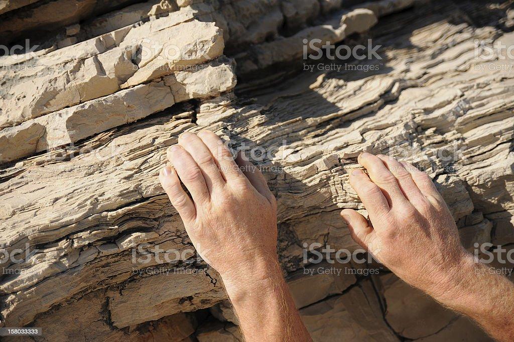 Rock climber, detail of hands stock photo
