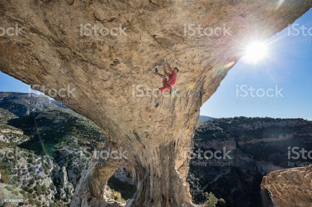 Rock climber in Rodellar Aragon Spain stock photo