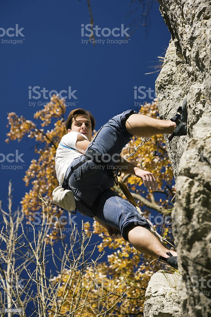 Rock climber in the rope royalty-free stock photo