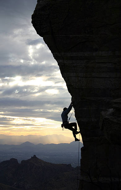 Rock Climber in Tucson stock photo