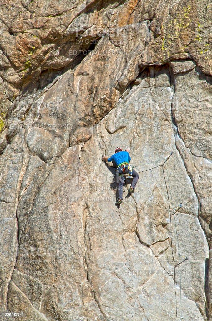 Rock Climber on Granite Mountain stock photo