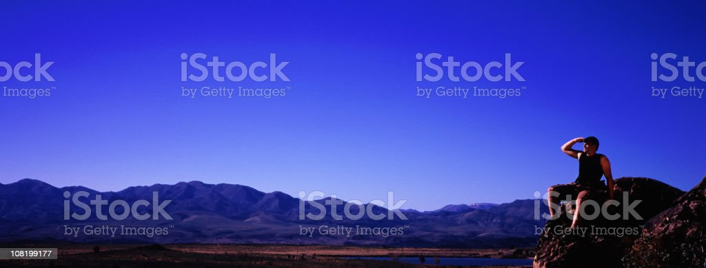 Rock Climber on Lookout royalty-free stock photo