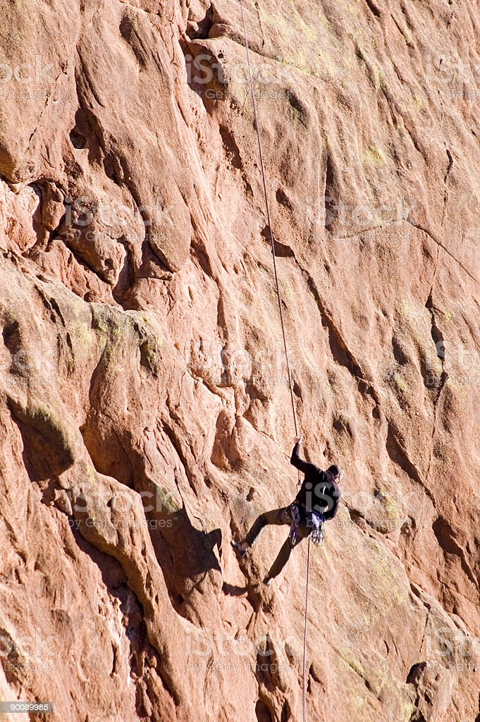 Rock Climber on Red Sandstone royalty-free stock photo