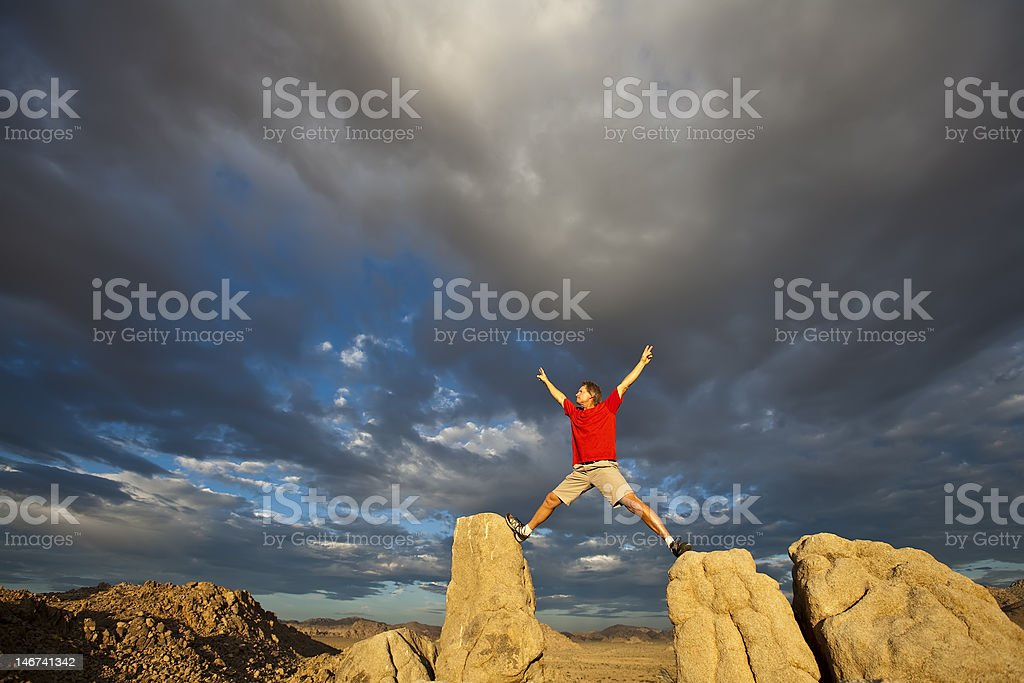 Rock climber on the summit. royalty-free stock photo