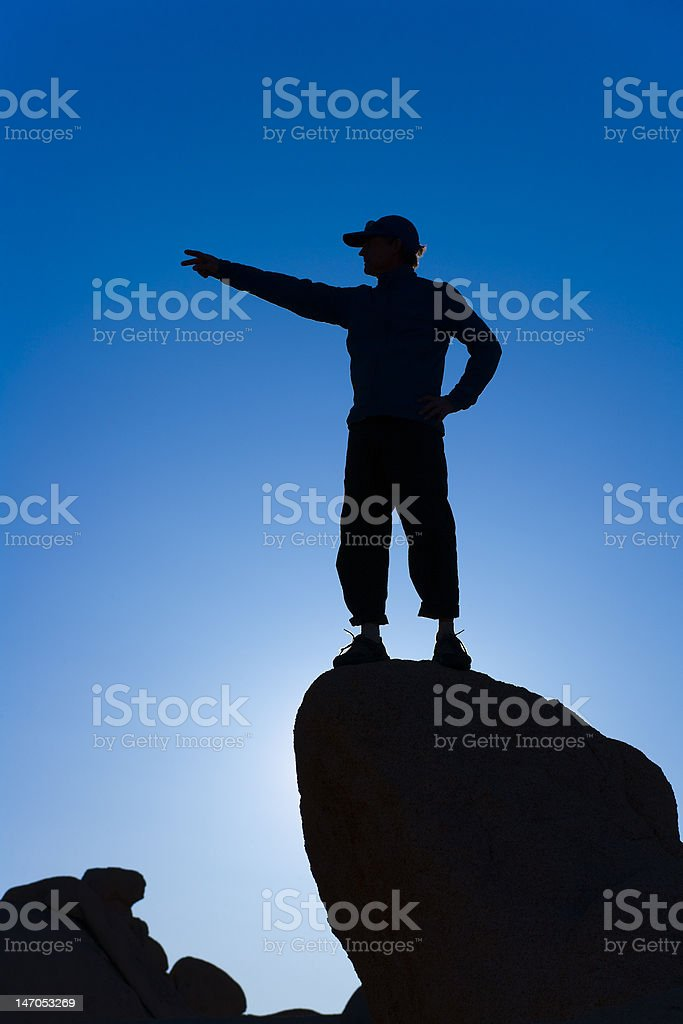 Rock climber on the summit. stock photo