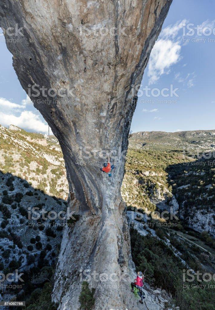 Rock climbers in Rodellar Aragon Spain stock photo