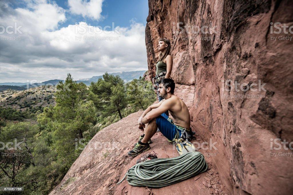 Rock climbers in Siurana Catalonia stock photo