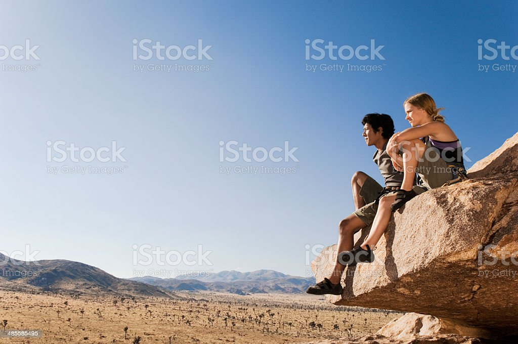 Rock Climbers Sitting stock photo
