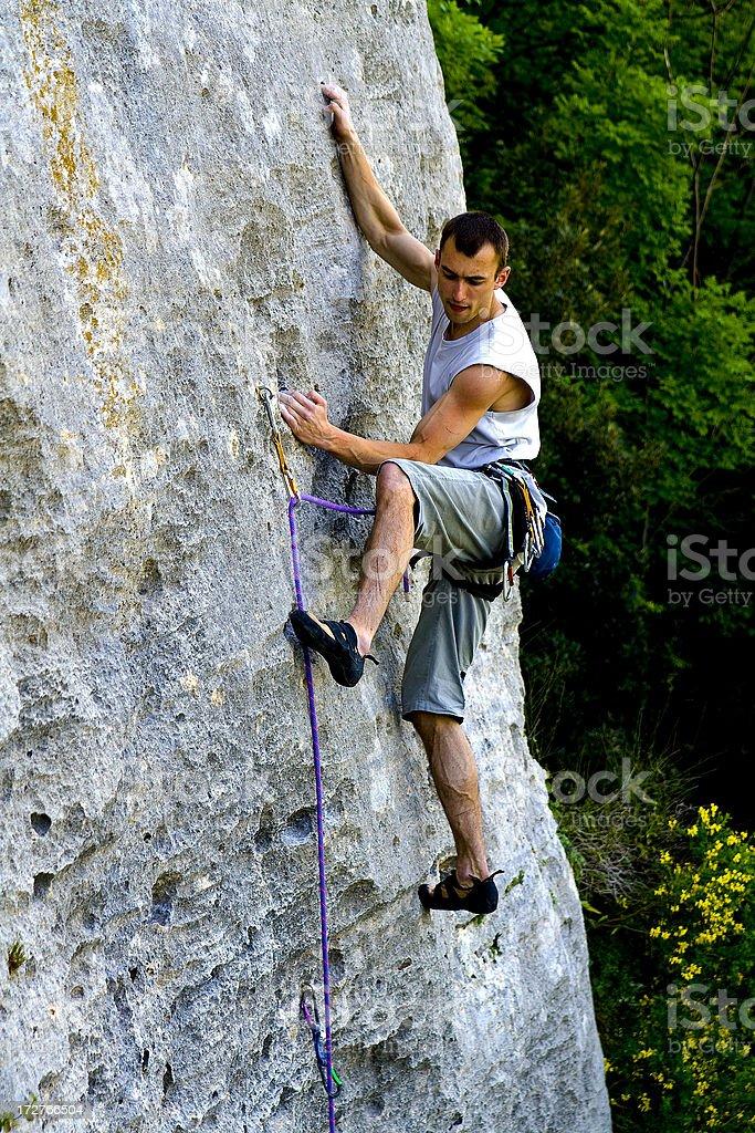 Rock Climbing 7a royalty-free stock photo