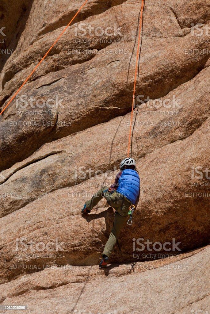 Rock Climbing at Joshua Tree National Park stock photo