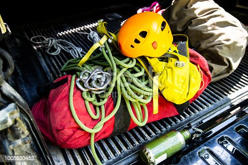 Mountain or rock climbing gear in the back of a pick-up truck.