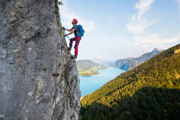 Rock climbing in Alps stock photo