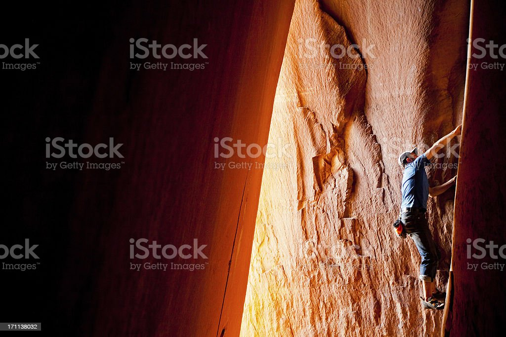 Rock Climbing in Utah at Indian Creek royalty-free stock photo
