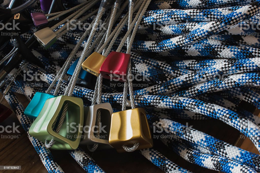 Rock Climbing Protection - Nuts and Rope stock photo