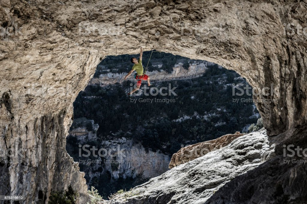 Rock climbing Rodellar Aragon Spain stock photo
