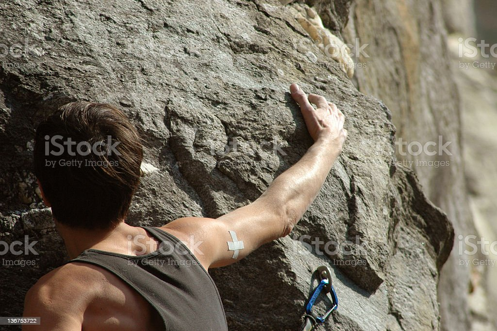 rock climbing touch stock photo