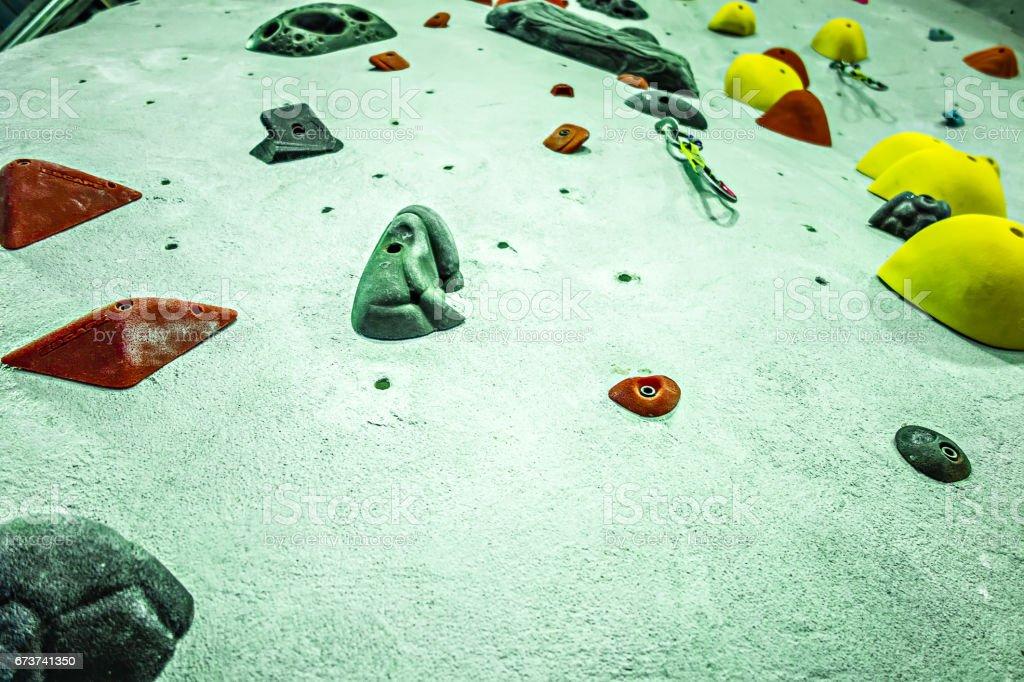 Rock climbing wall recreation center royalty-free stock photo
