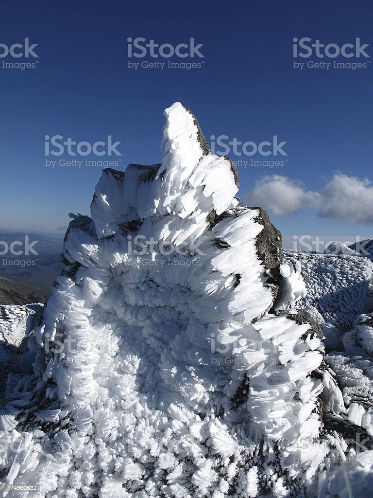 Rock Coated with Unusual Rime Ice Formation stock photo