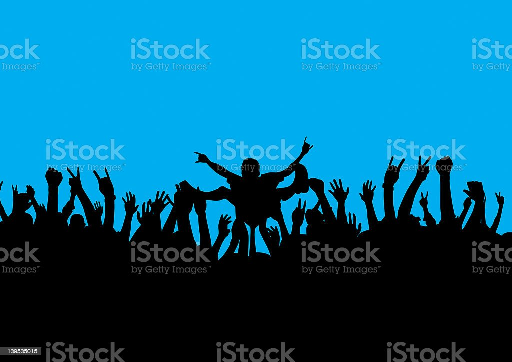 rock crowd surf stock photo