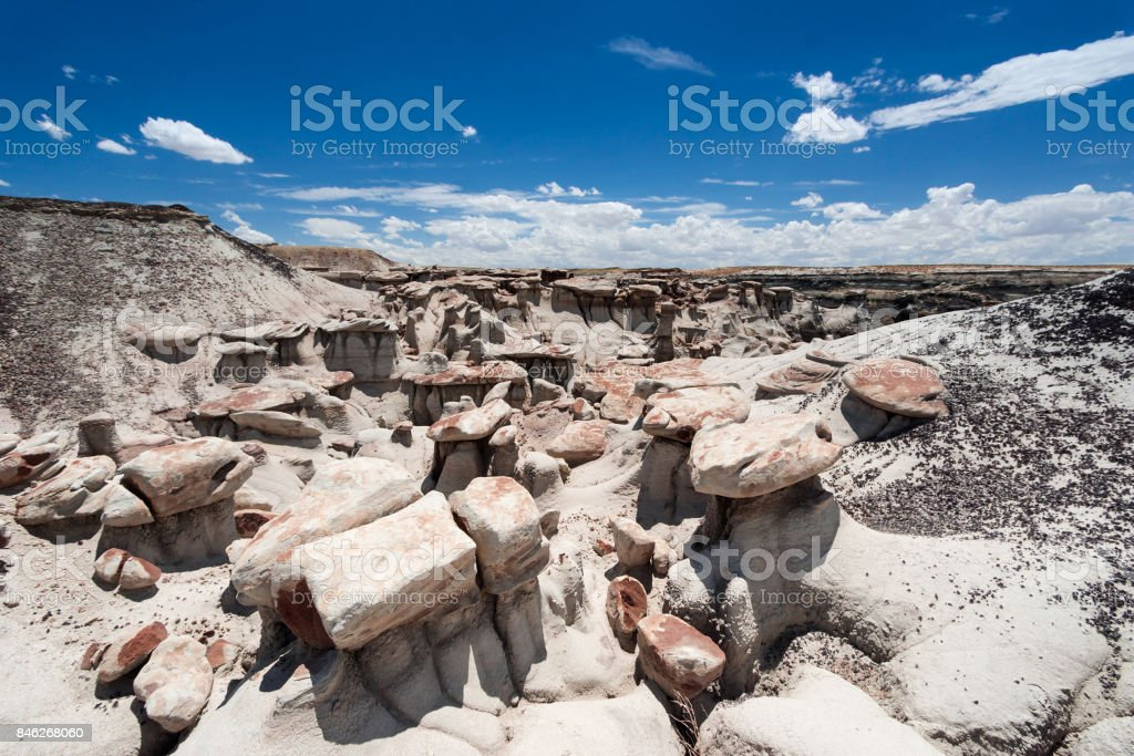 rock desert with many hoodoos in New Mexico stock photo