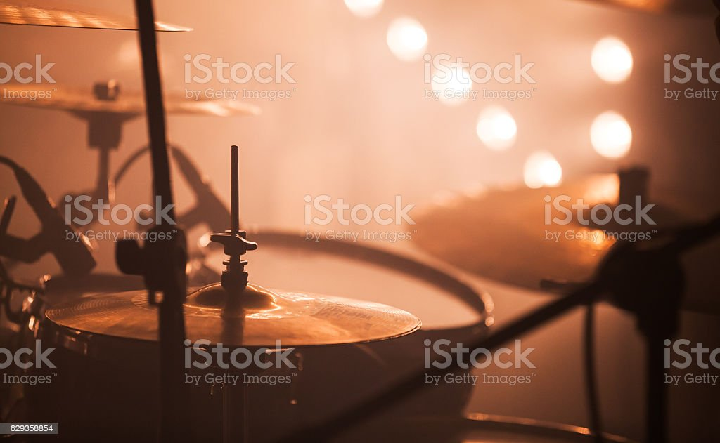 Rock drum set  with cymbals stock photo
