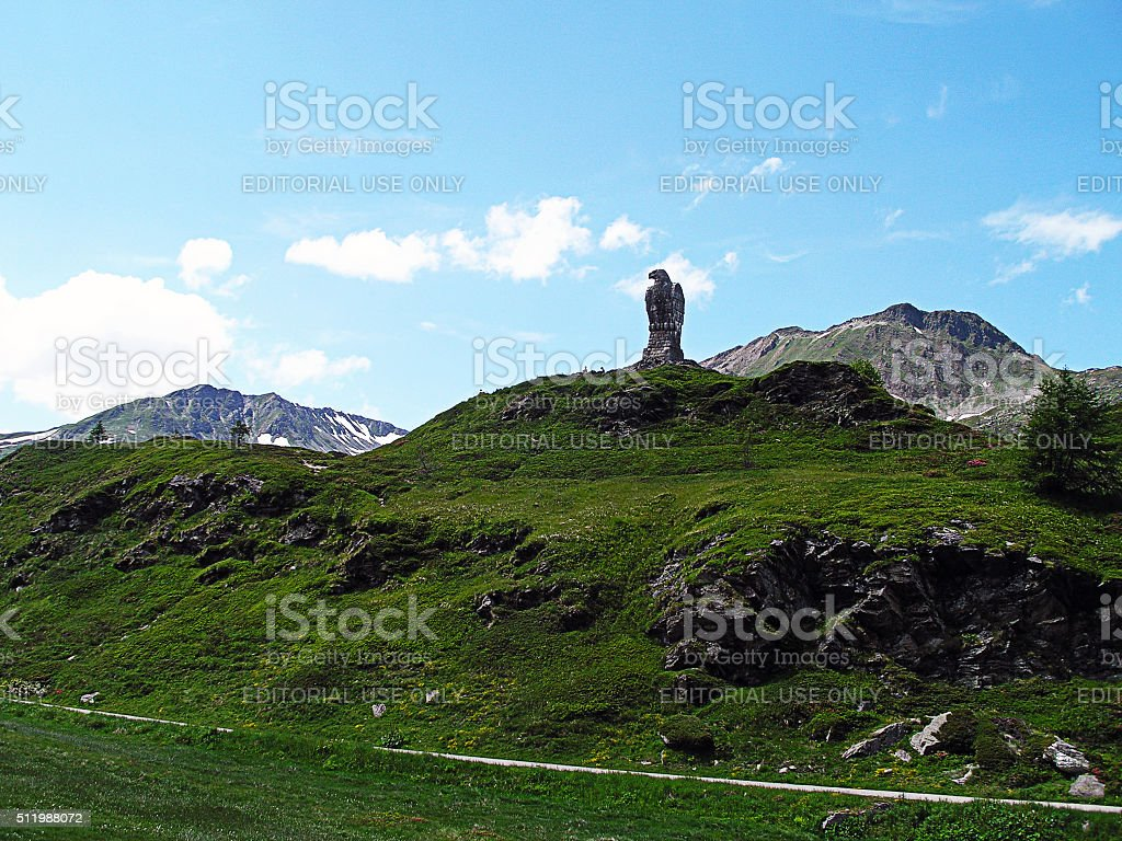 Rock eagle on the Simplon Pass in Switzerland. stock photo