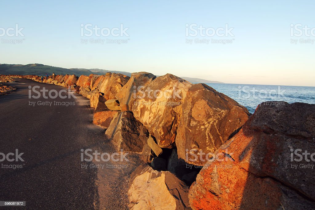 rock embankment under sunset at apollo bay royalty-free stock photo
