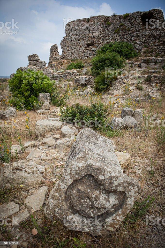 Rock for sacrifices in ruins of Lixus Morocco. stock photo