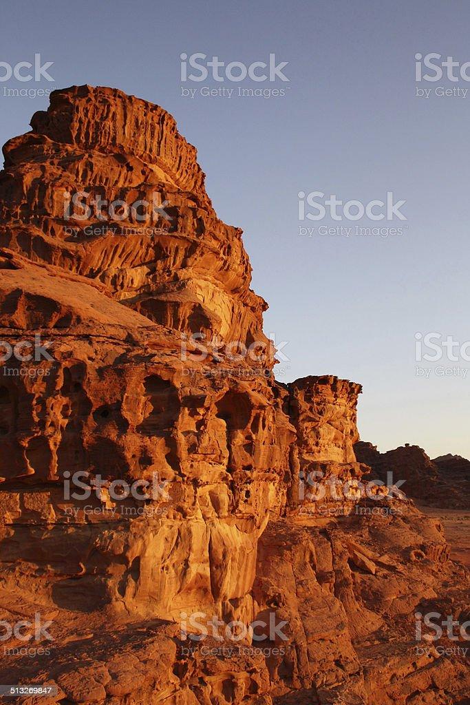 Rock Formation at Sunset, Wadi Rum, Jordan stock photo
