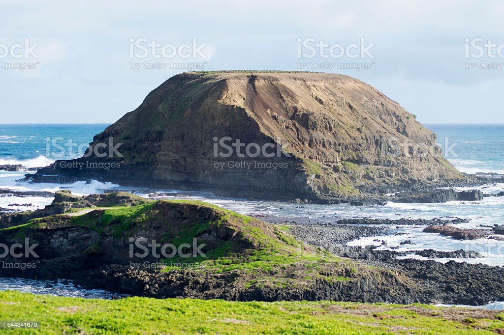Rock formation at The Nobbies, Phillip Island, Victoria, Australia stock photo