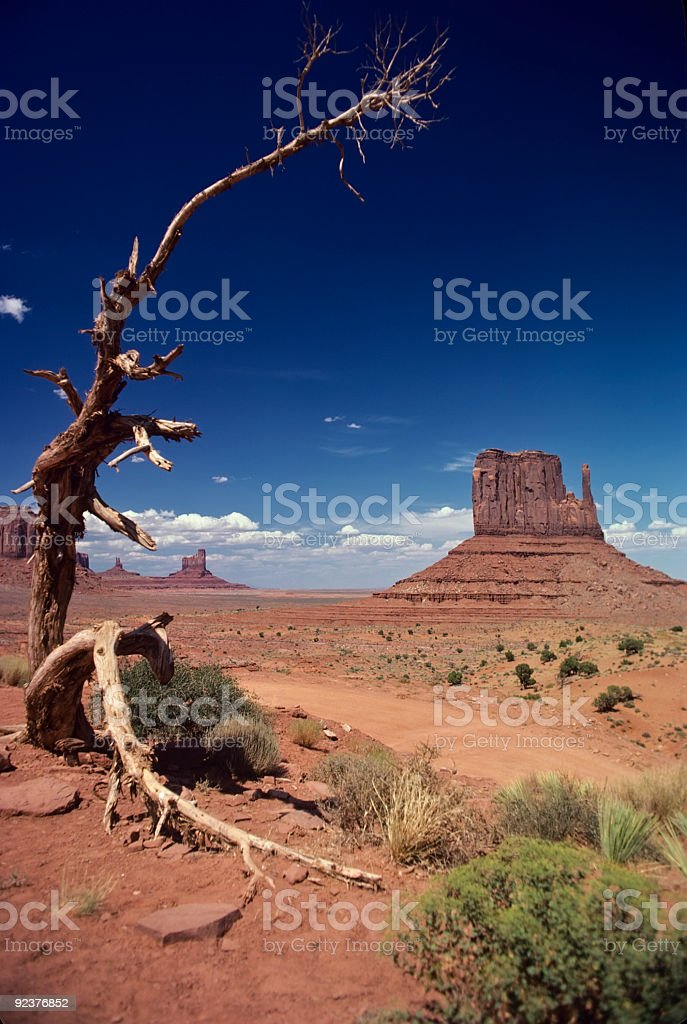 Rock Formation Called Mitten in Monument Valley Utah royalty-free stock photo