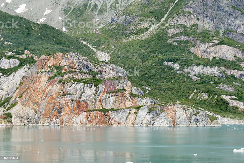 Rock formation in Johns Hopkins Inlet royalty-free stock photo
