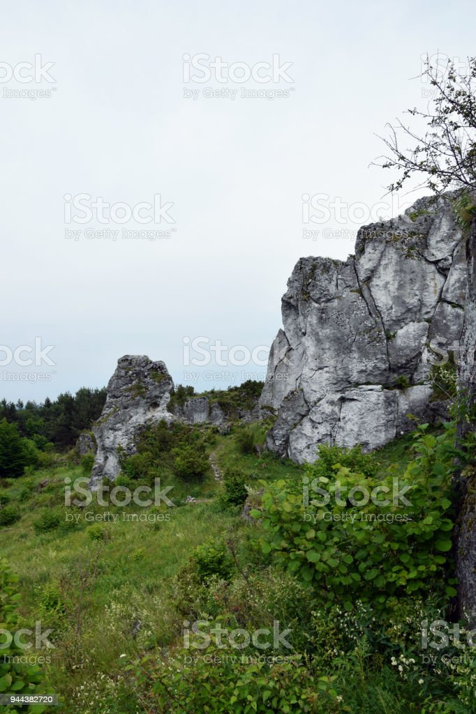 Rock formation in Krakow Czestochowa Upload. Polish Jurassic Highland. stock photo